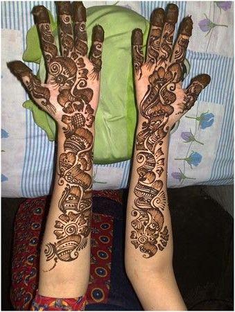 full hand shaded mehndi design