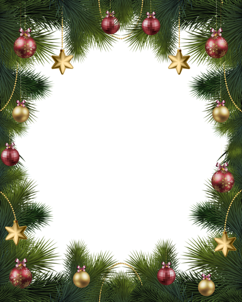 Christmas Pine Transparent Frame With Ornaments