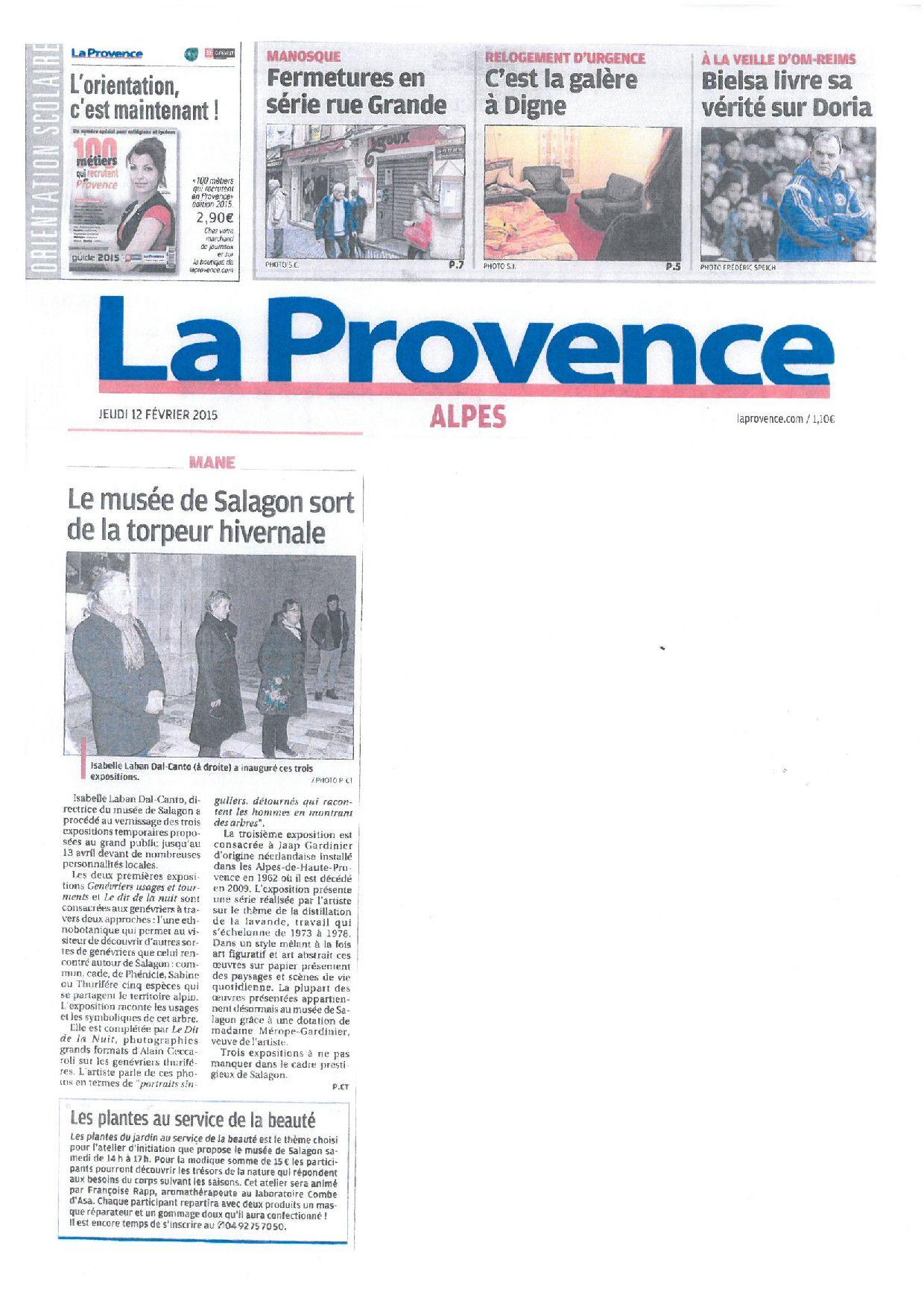 """LA PROVENCE / 12/02/15 : retrouvez-nous lors de l' #atelier """"La beauté au jardin d'hiver"""" au #MuséedeSalagon."""