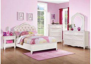 White Full Bed, Dresser