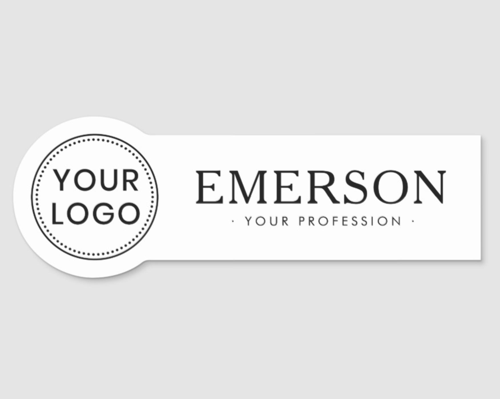 Custom Logo Business Staff Employee Any Color Name Tag Zazzle Com Custom Logos Color Names Name Tags