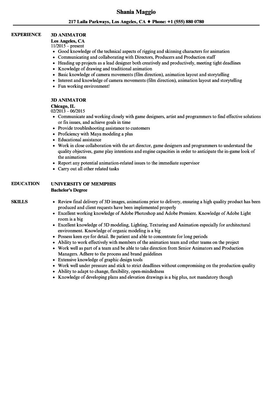 Resume Format 3d Animator Resume Format Resume Format Good Resume Examples Professional Resume Samples