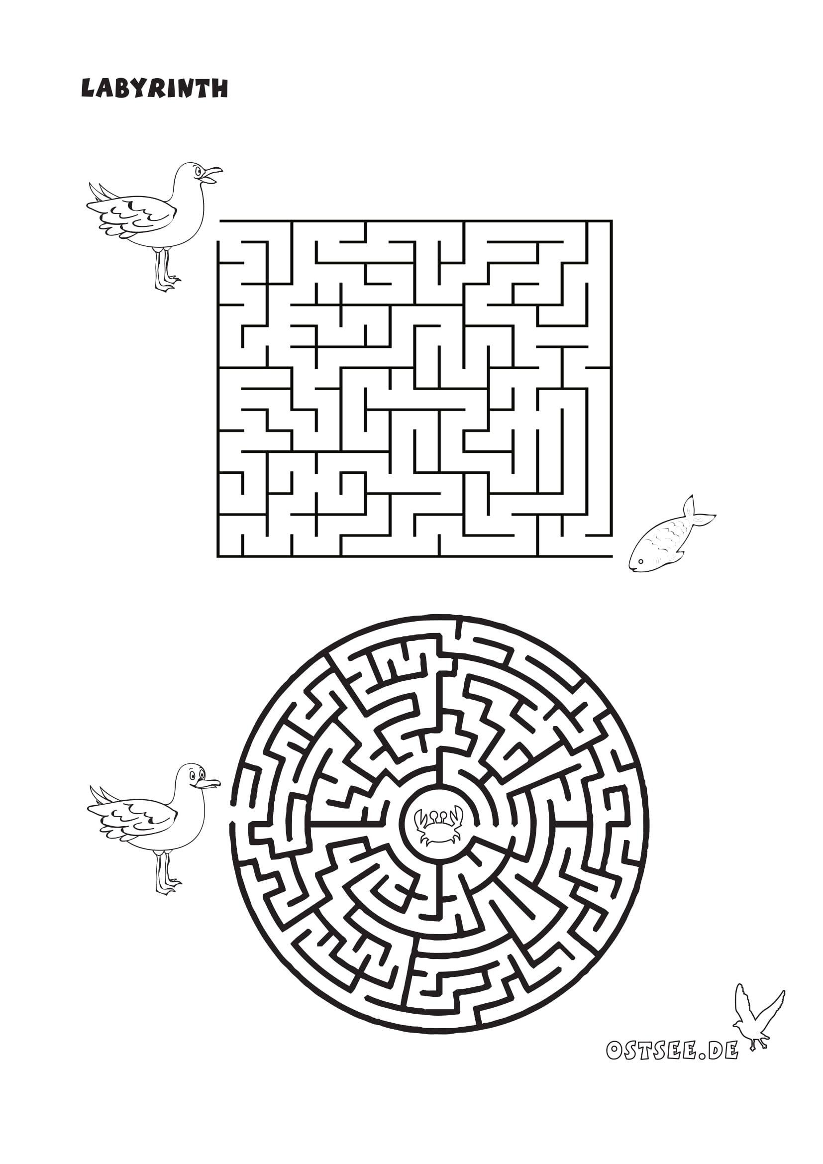 Maritimes Labyrinth  Labyrinthe für kinder, Vorlagen, Malvorlagen