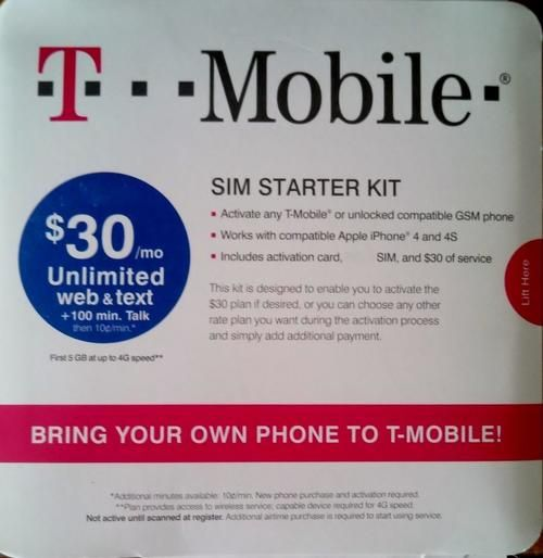 T Mobile Regular Size Sim Starter Kit With $30 Initial Value W/Activation Code