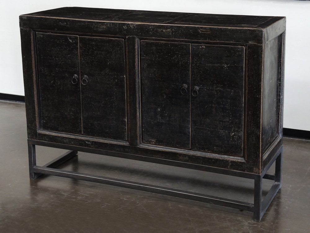 Small Vintage Black Credenza With Iron Base By Terra Nova Furniture Los  Angeles By TerraNovaLA On