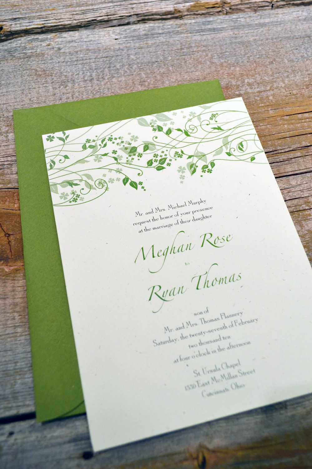 MAEVE - IRISH Wedding Invitation Set on recycled paper. $2.30, via ...
