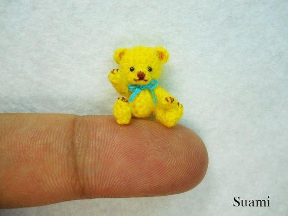 Miniature Mohair Bear 08 Inch Tiny Amigurumi Crochet Yellow Teddy