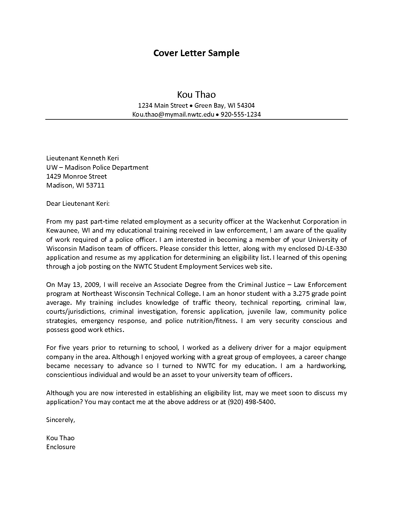 Cover Letter For Police Chief Position Templates Educational