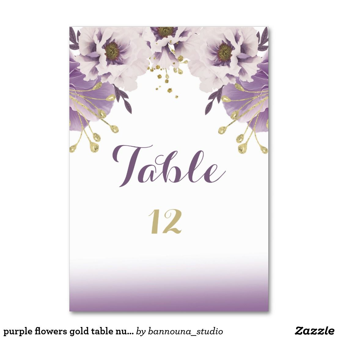 Names Of Purple Flowers For Wedding: Purple Flowers Gold Table Number Card