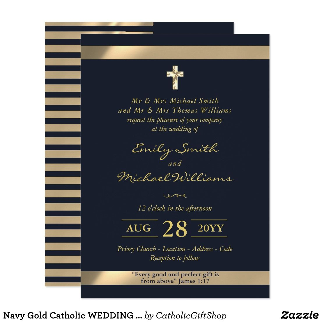 Navy Gold Catholic Wedding Invitation With Verse