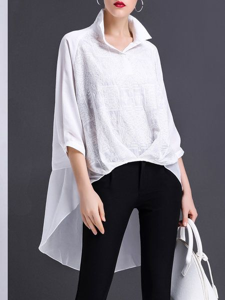 Shop Tunics White Asymmetrical Shirt Collar Long Sleeve