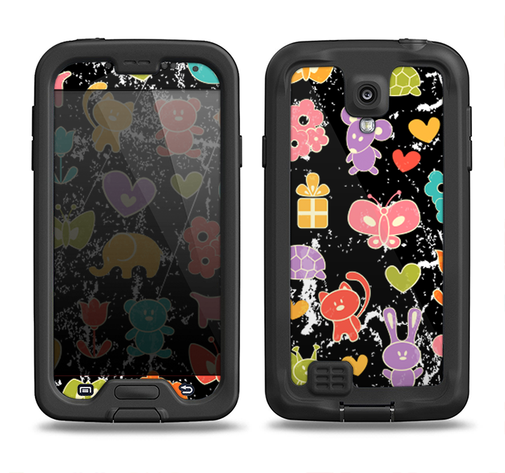 The Furry Fun-Colored Critters Pattern Samsung Galaxy S4 LifeProof Nuud Case Skin Set