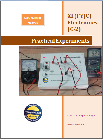 11th std. bifocal electronics practical booklet with readings.