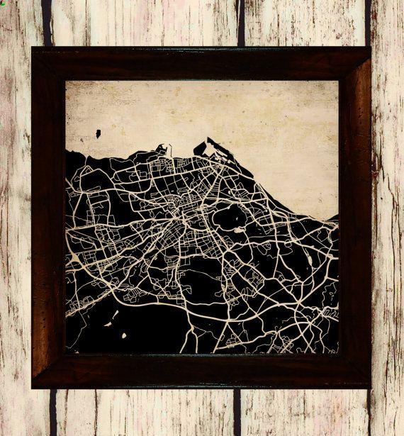 Edinburgh Street Map Vintage Silhouette Road by CraftyBaconStudios
