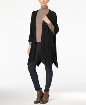 Steve Madden Solid Fine Knit Open Poncho - Black