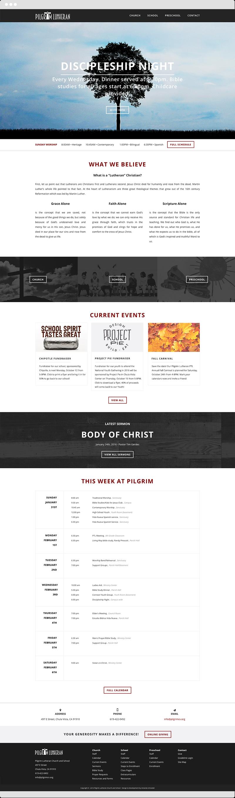 Pilgrim Lutheran Church And School Responsive WordPress Website // Church  Website Design // School