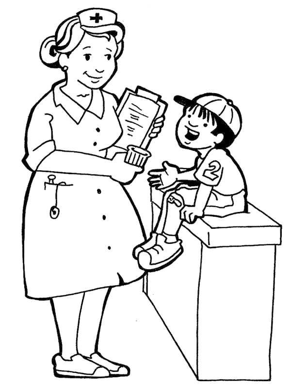 Nurse Coloring Pages Community Helpers Theme Preschool
