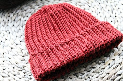 Ravelry Beginner Ribbed Crochet Hat Pattern Mens Unisex