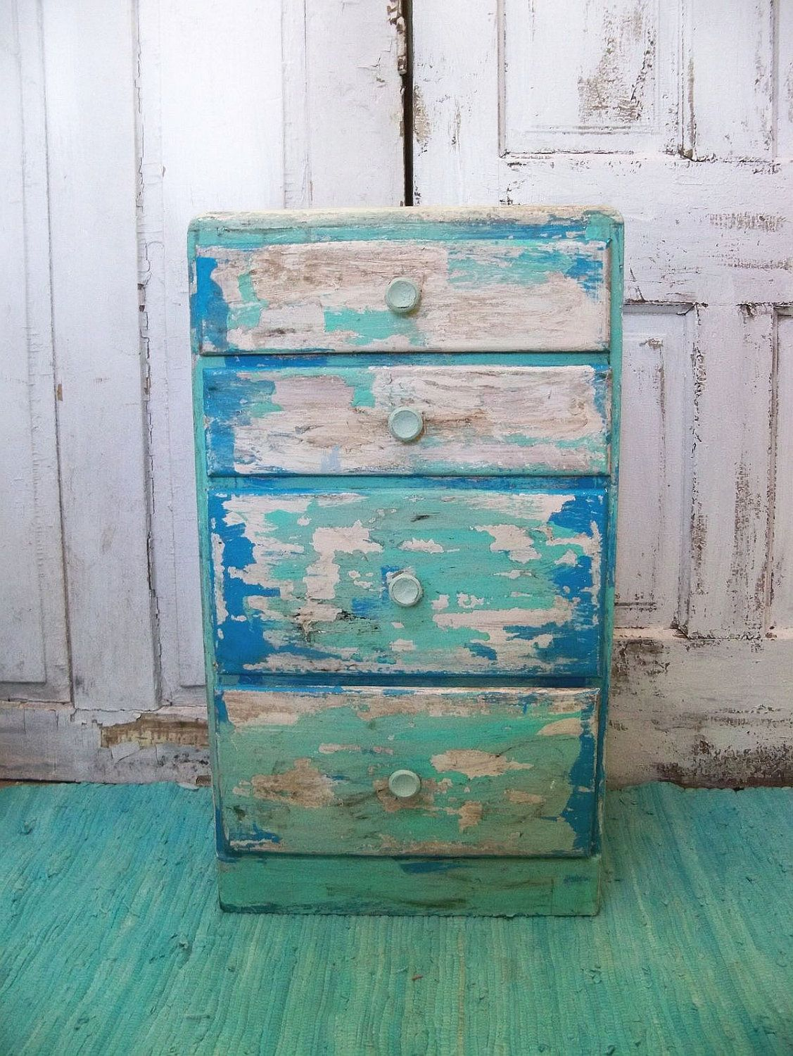 Beach Cottage Distressed Table With Drawers Aqua Blue Up Cycled Furniture  By Anita Spero.