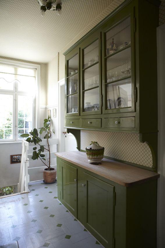 Lime green cabinets -- Photograph: Kira Brandt -- Styling: Katrine ...
