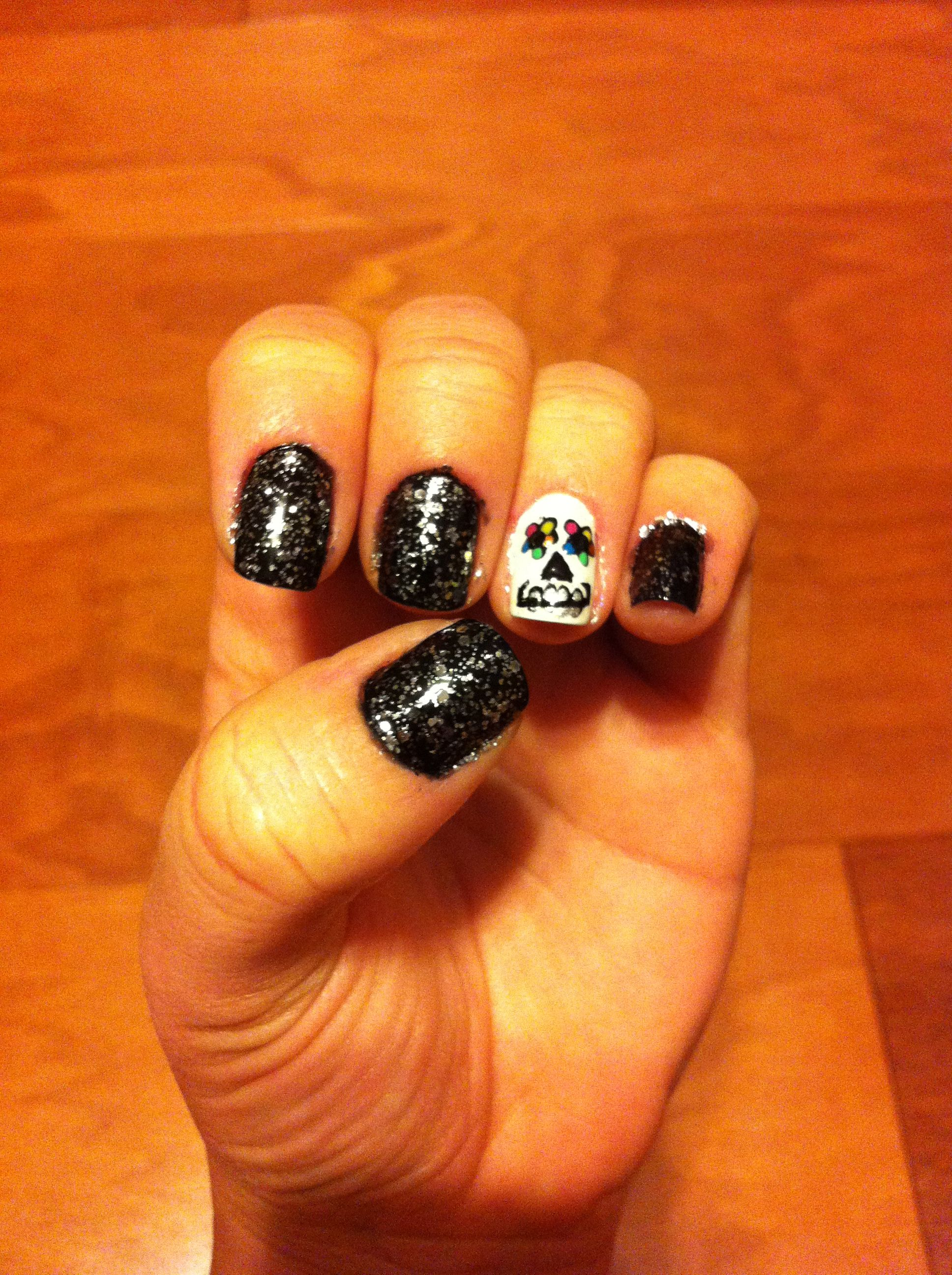 My Halloween sugar skull nails - OPI Metallic 4 Life ...