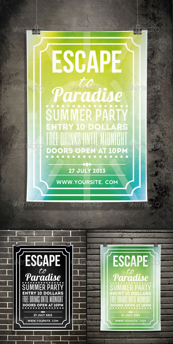 Escape to Paradise - Summer Typography Flyer Pinterest
