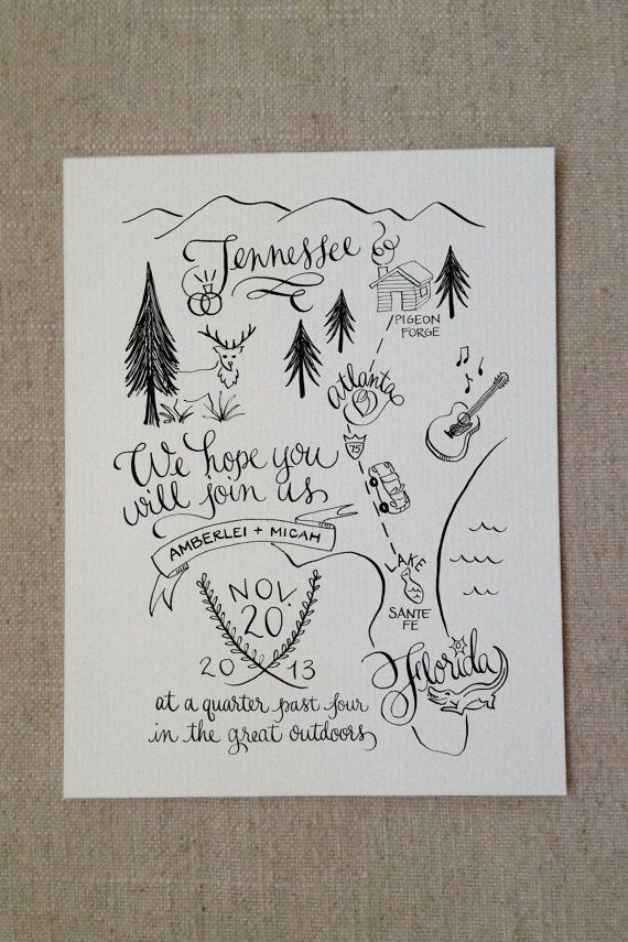 This Unconventional Map Invite Is So Clever For A Nature Or Camping Themed Wedding The 25 Most Beautifully Illustrated Invites