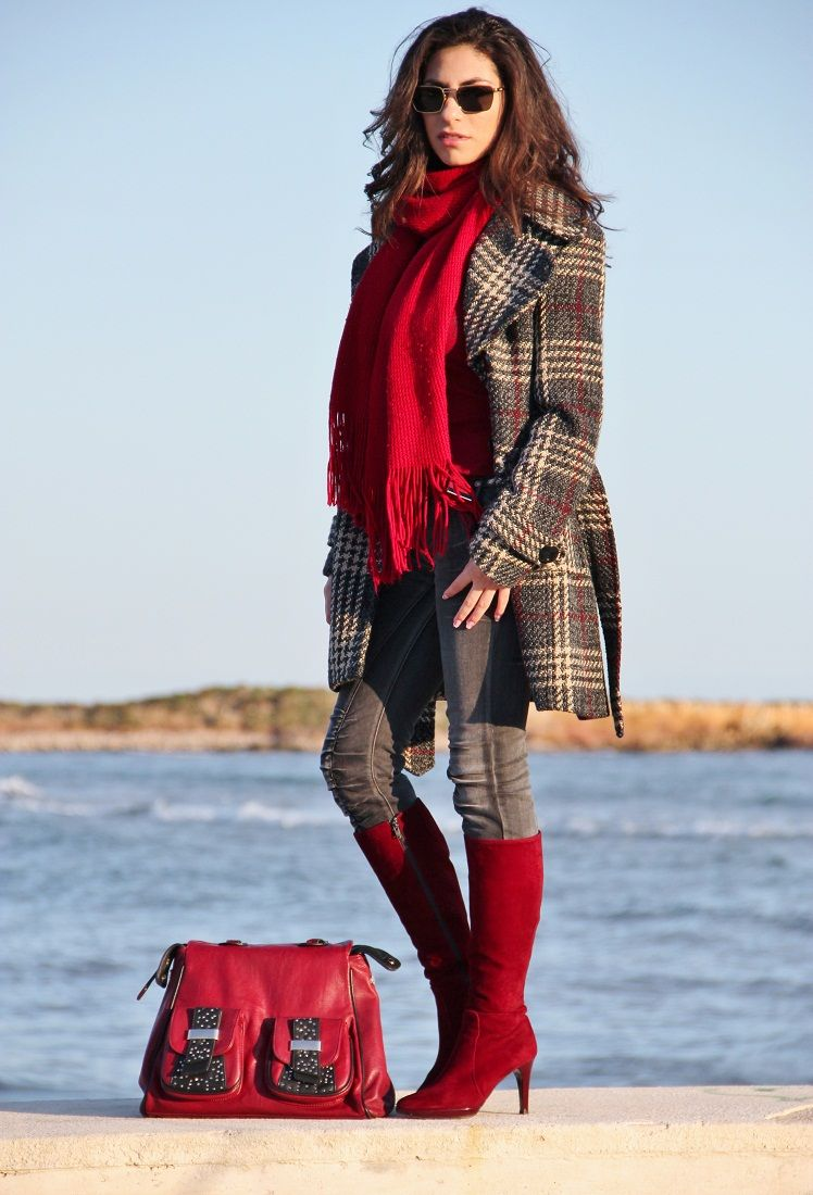 Red and Gray: plaid coat, dark gray and scarlet accessories.