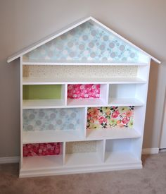 Instructions For Dollhouse Bookcase Doll House Bookshelf Made From MDF Decorated With Gift Wrap