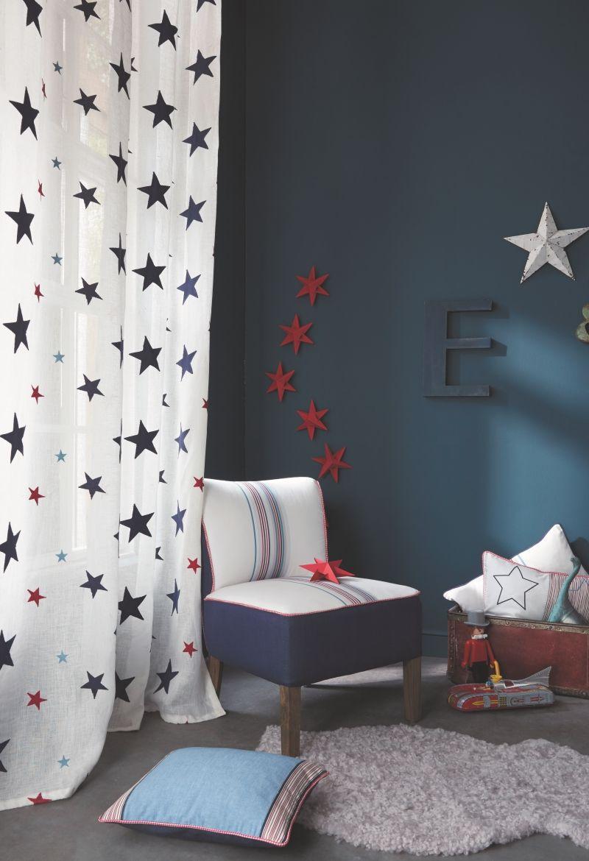Kinderzimmer sterne blau  Leinen-Voile 'Summer Camp' Sterne blau/rot | Pinterest | Besuchen ...