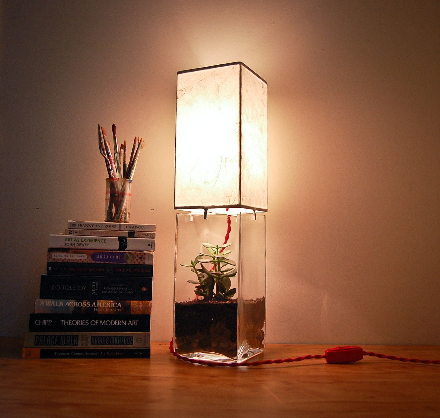 Rectangular terrariumdisplay column table lamp could you be light