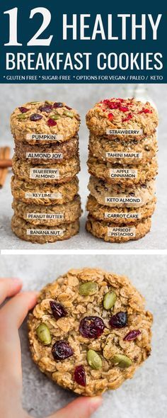 Healthy Breakfast Cookies – 12 Ways – easy to customize & make ahead. Perfect for back to school & busy on-the-go mornings. Best of all, these recipes are all gluten free, refined sugar free with nut free, paleo / low carb / keto options. Almond Joy (Chocolate & Coconut), Apple Cinnamon, Apricot Pistachio, Banana Nut, Blueberry Almond, Carrot Cake, Keto (Almond and Coconut), Key Lime, Strawberry, Peanut Butter with Chocolate Chips. Pumpkin & Tahini Maple (Nut Free) #cookies #glutenfree #keto images