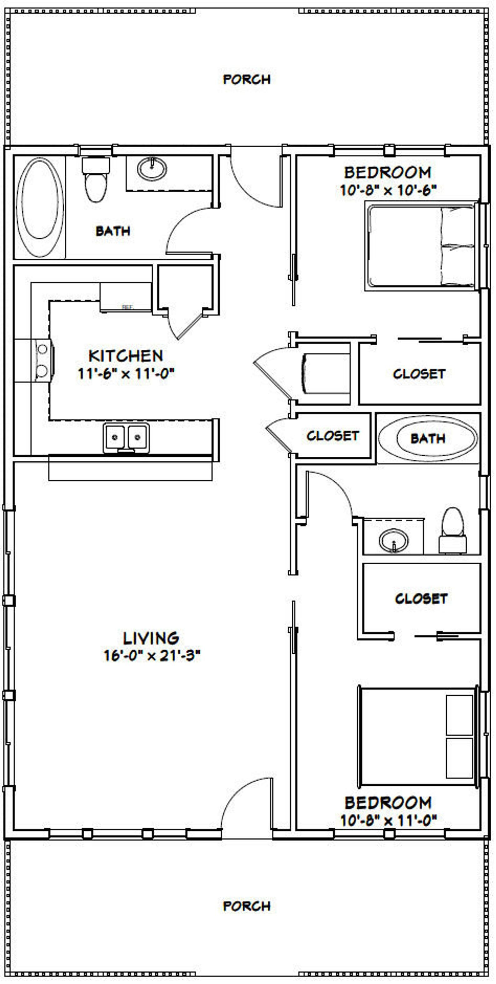 28x40 House 2 Bedroom 2 Bath 1 120 Sq Ft Pdf Floor Plan Instant Download Model 1a Tiny House Floor Plans Small House Floor Plans Barndominium Floor Plans