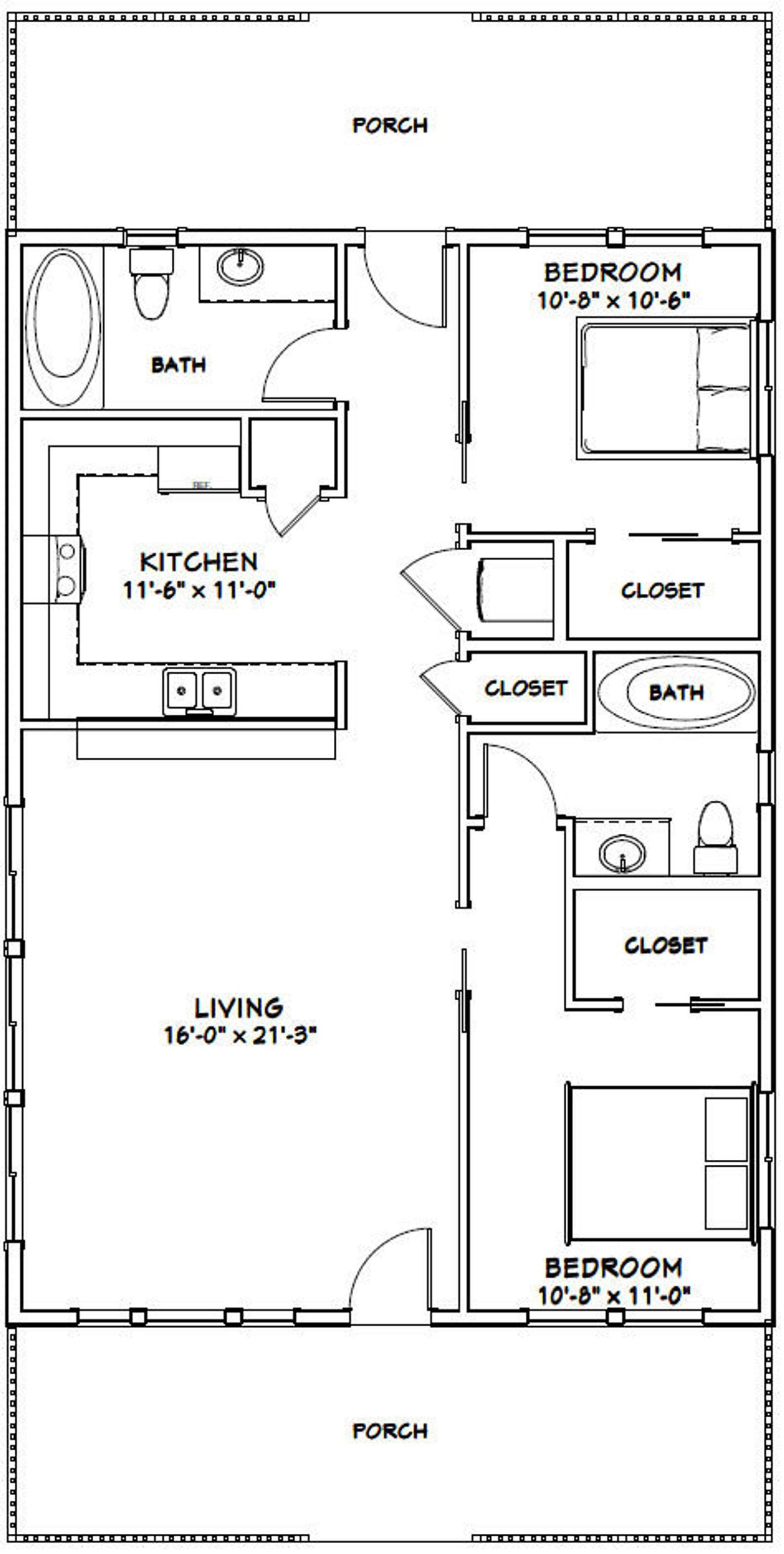 28x40 House 2 Bedroom 2 Bath 1 120 Sq Ft Pdf Floor Plan Instant Download Model 1a Tiny House Floor Plans Small House Floor Plans Barndominium Floor Plans