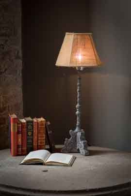 Grey Metal Lamp with Burlap ShadeWired for USA (110 Watt)Dimensions: Base (7x 7)                    Shade (11 in Diameter)                    Height 27.5 in  Price - $165
