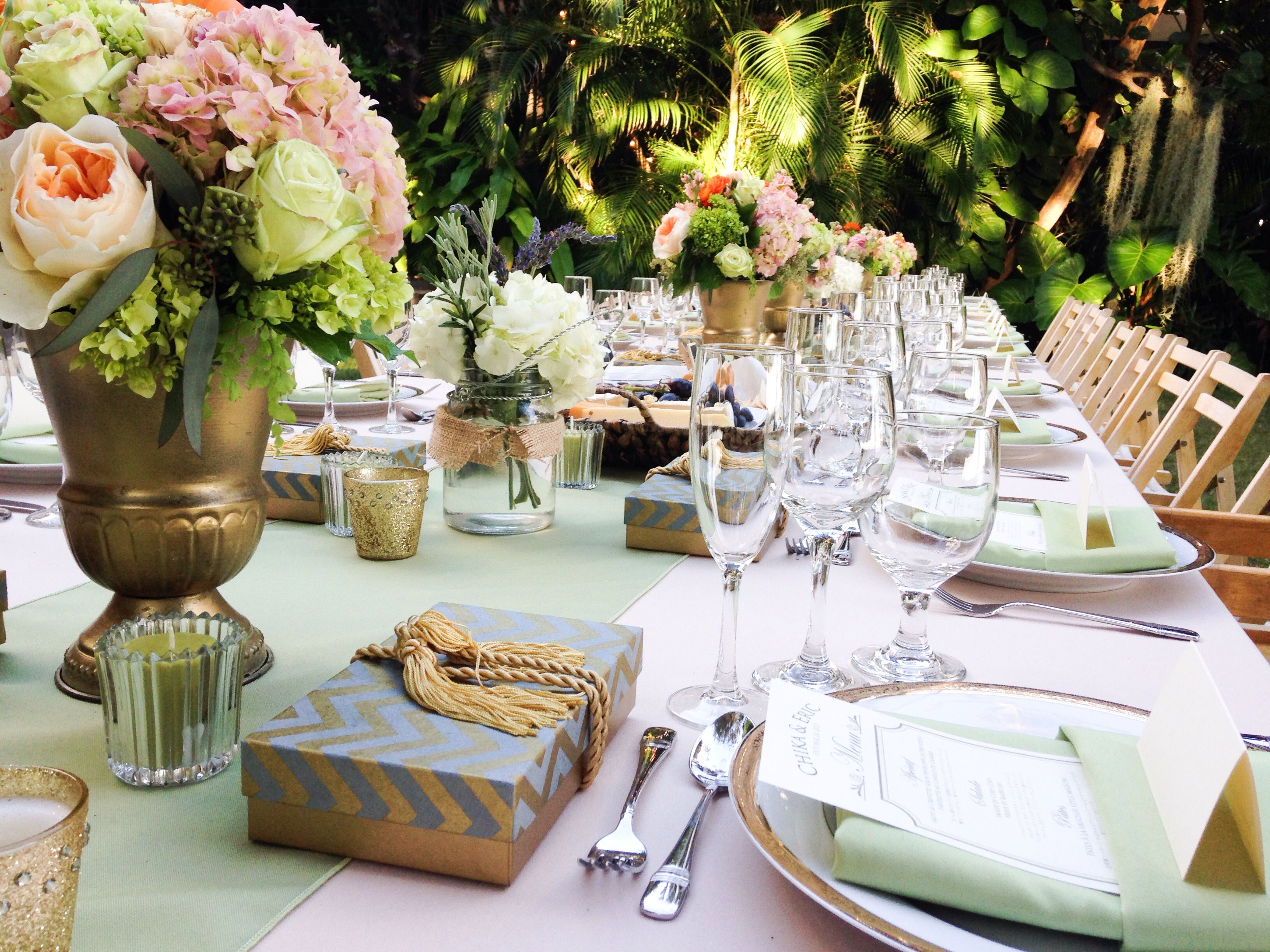 Antique Gold Olive Green Beige Pink Table Setting Tropical Wedding DecorTropical