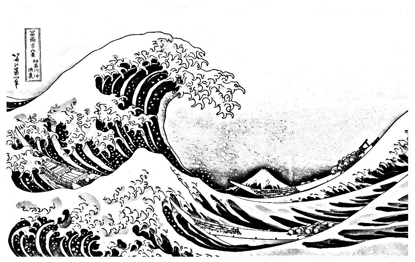 Great Wave Kanagawa Japan Coloring Pages For Adults Just Color