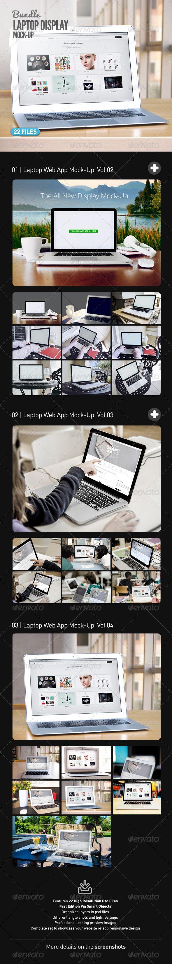 Laptop | Web App MockUp Bundle — Photoshop PSD #web design #macbook pro • Available here → https://graphicriver.net/item/laptop-web-app-mockup-bundle/7697268?ref=pxcr