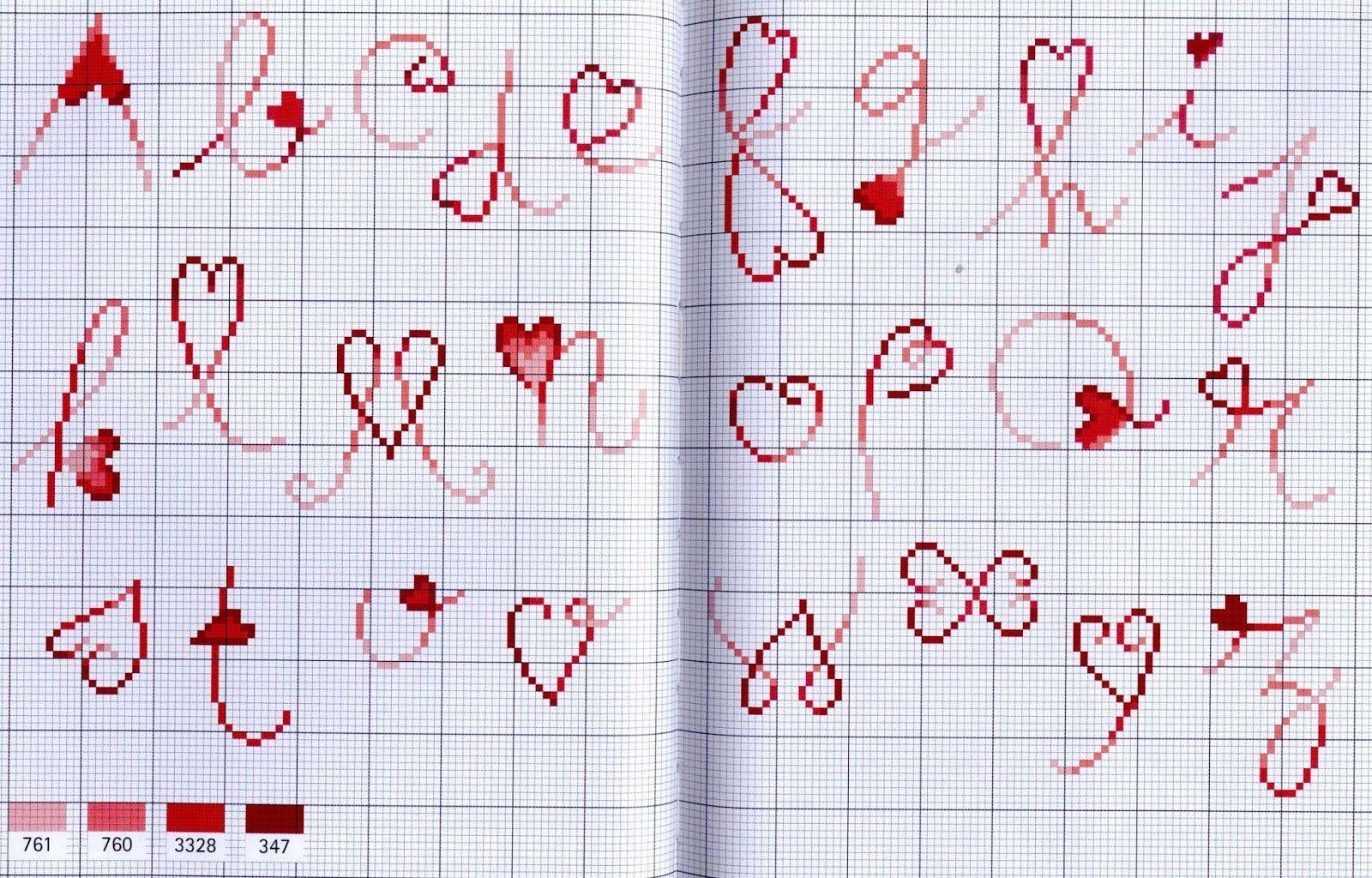 La pi grande raccolta di schemi e ricami al punto croce for Ricamo punto croce lettere