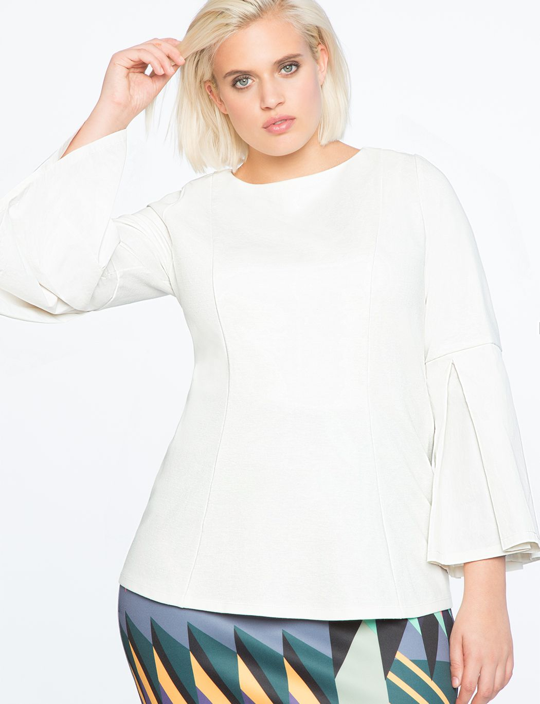 f2641c26a94493 Fit   Flare Pleated Sleeve Tunic Top