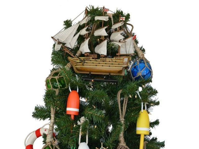 HMS Victory Model Ship Christmas Tree Topper Decoration  from Handcrafted Nautical Decor - In stock and ready to ship