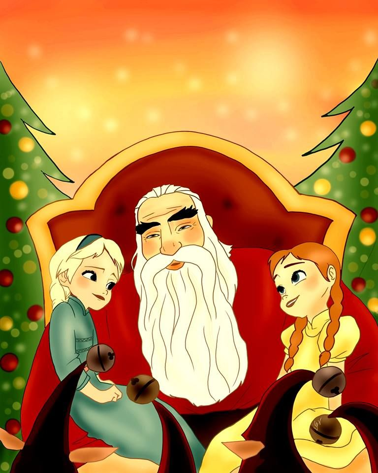 -Cute, Elsa and Anna with grandpa North, Rapunzel and jack are the parents<3