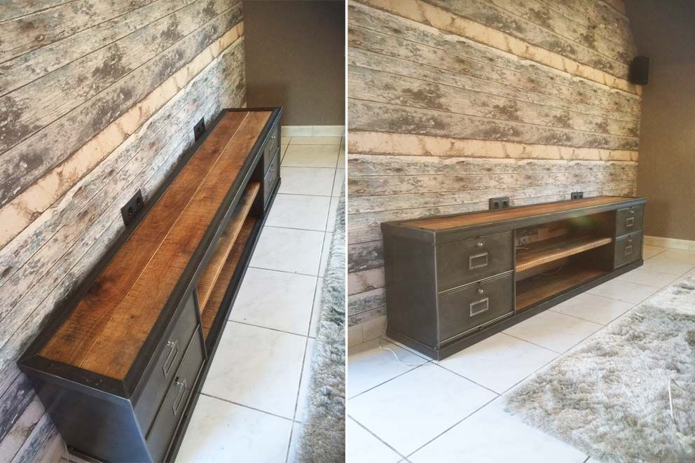 Meubles TV industriel bois et métal - L\u0027or du Temps Meuble TV - reparation de porte en bois