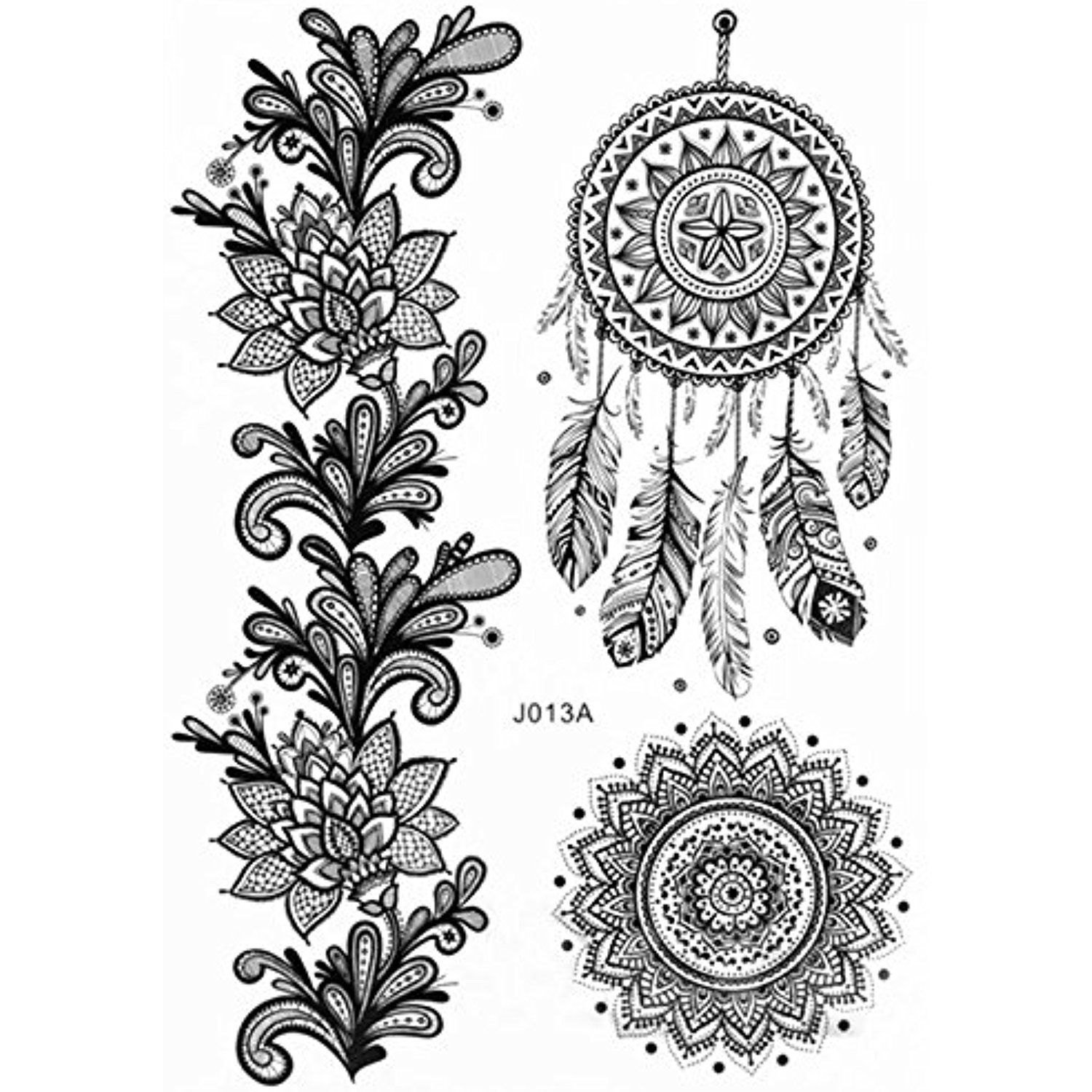 1 Sheet Of Black Floral Removable Lace Body Art Tattoo