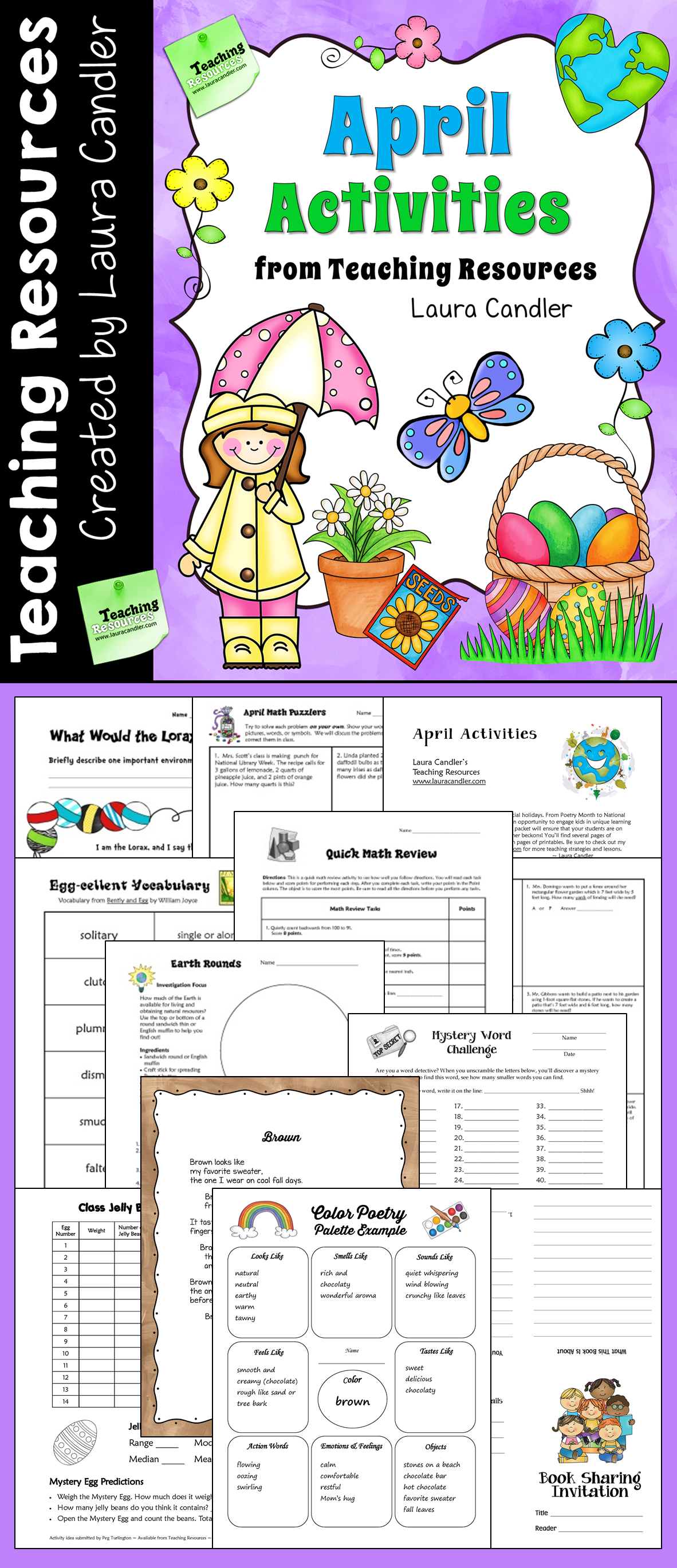 April Activities And Printables For Easter Earth Day Poetry Month And Spring