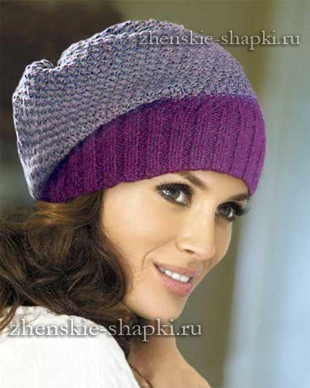 Женская шапка-чулок спицами схема