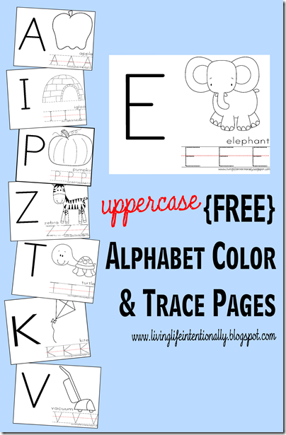 free UPPERCASE Alphabet Color Trace Pages Alphabet Preschool