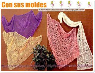 Delicadezas en crochet Gabriela: Chal y estola con diseños de rosas
