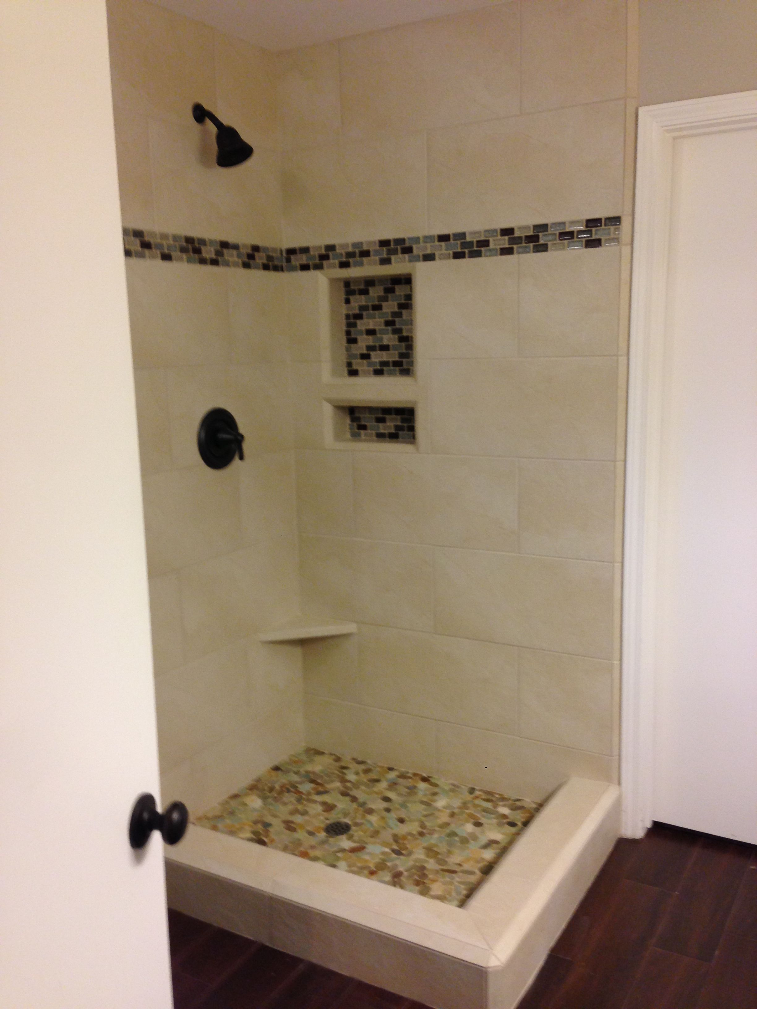 New Shower Tile Sea Glass Mosaic Tile Accent And Pebble