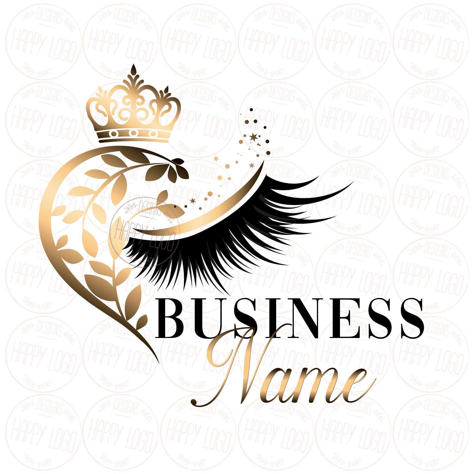 DIGITAL Custom logo design gold eyelash logo crown heart